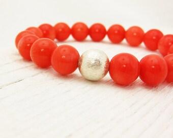 Tangerine Coral Bead Bracelet / Tangerine Tango Inspired w/ Solid Sterling Silver Ball: orange colorful bright juicy citrus fresh