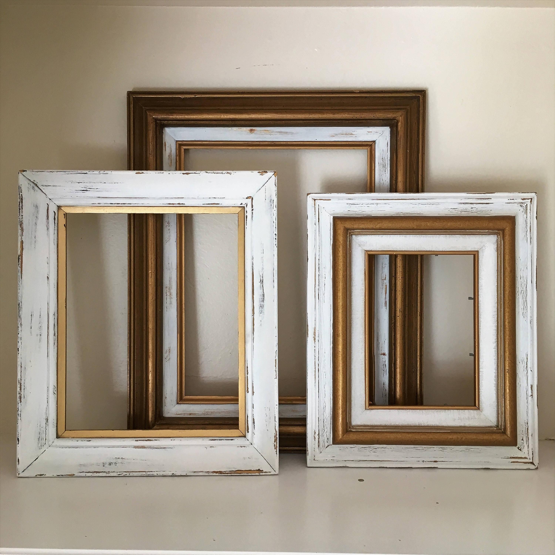 Shabby Chic foto marco Set, Set de 3 marcos, marcos de oro y blanco ...