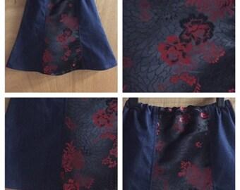 Brocade and Denim Flowered Boho Bell Skirt, child size 6
