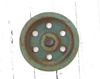 Old Iron Wheel, Salvaged Factory Pulley, Vintage Metal Wheel, Machine Gear, Rusted Wheel, Industrial Primitive Farmhouse, Shabby Green Decor