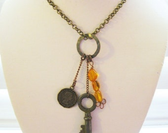 Bronze Charm Necklace with Mixed-Metal Charms B-3