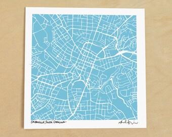 Greenville Map, Hand-Drawn Map Print of Greenville, South Carolina
