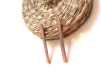 Copper earrings/Long bar earrings/Modern earrings/Minimal earrings/Abstract earring/Fashion earrings/Original gift