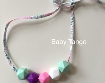 Silicone teething necklace **nursing Necklace** wooden teether necklace