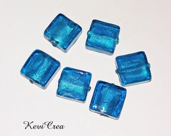 6 x 12mm Peacock Blue Square Lampwork Glass Beads