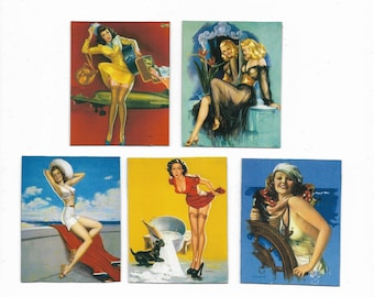 """Set of 5 homemade Pin Up Girl Magnets 2""""x 3"""""""
