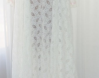 Vintage White Lace Floor Length Peignoir Set Perri Ann Unworn