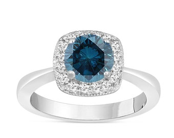 Platinum Fancy Blue Diamond Engagement Ring 1.21 Carat Halo Pave Handmade