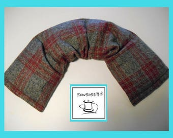Microwavable Heating Pad, Flax Seed Heat Pad, Rice Hot Cold Pack, Relaxation Gift, Heather Gray Red Plaid Flannel Heat Pad, Sunny Heat Packs