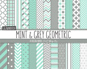 Geometric Digital Paper Package. Mint and Grey Backgrounds. Printable Papers. Green Mint and Gray Geometrical Patterns. Digital Scrapbook