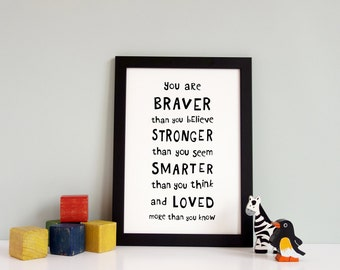 Girls nursery print, You are braver than you think, Instant download, Printable quote, Nursery Wall Art, Playroom Decor, Wall Art Print
