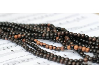 Set of 30 beads ebony wood - 4 / 5mm