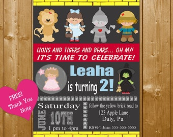Wizard of Oz Invitation, Wizard of Oz Party Invitation, Wizard of Oz Birthday Party Invitation, Printable Party Invitation, Free Thank You