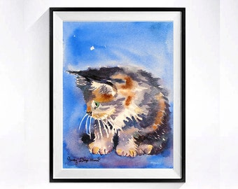 Calico Pursian Cat Art Watercolor Print, Black and white cat paintings, Meme art animal painting, Persian pet art kitty, Aquarelle blue