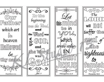Bible Verse Coloring bookmarks#2, Instant Download