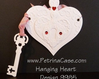 Heart Pop-Up CARD Embossed  with key put wishes in and hang up Design 9987