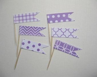 24 Flag Cupcake Toppers - Party Food Picks - Flag Picks - Food Decoration - Purple Lavender - Bridal Shower - Wedding - Baby Shower