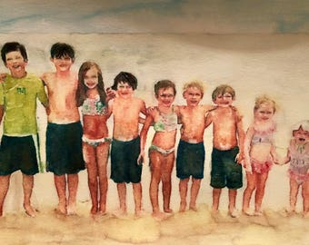 11 x 14 Custom Watercolor Portrait Painting