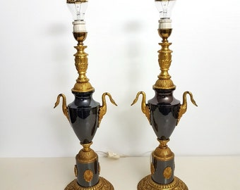 Pair Baroque brass bronze black table lamps with swans, 1960s