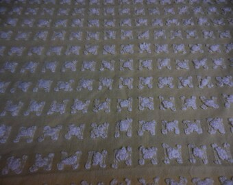 """Rare Vantona YELLOW with WHITE ROSEBUDS Vintage Chenille Bedspread Fabric - Made in Great Britain - 23+"""" X 24+"""" - Last Piece"""