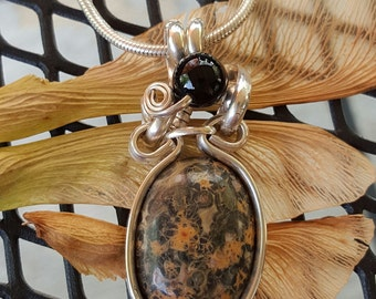 Sterling silver wire wrapped leopard Jasper pendant on sterling silver chain