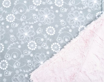 Personalized Gray & Pink Minky Baby Blanket - Made to Order