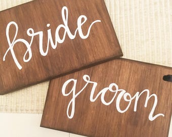 Wood Bride and Groom Signs, Bride and Groom Chair Signs, Wood Wedding Signs, Head Table Signs, Mr and Mrs Signs, Wood Signs, Chair Signs