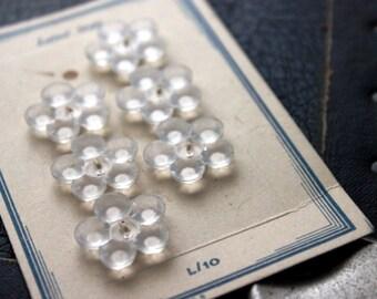 Set of 6 Czech Crystal Flower Buttons on Original Vintage Card