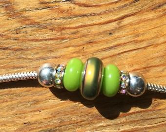 Sterling Silver Snake Chain Charm Bracelet Mood Bead