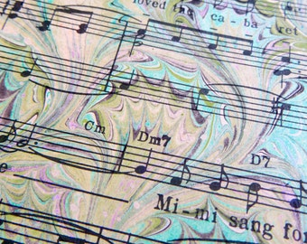 Mimi the Frog - Hand marbled vintage sheet music