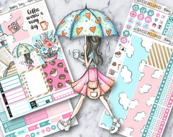 MINI Weekly Kit / Rainy Day / Planner Stickers /  Fits Erin Condren Vertical & MAMBI / Glitter / Hand Drawn
