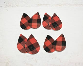 Red and Black Buffalo Plaid Leather Pieces, Leather Shapes for Earrings and Jewelry, 4 pairs, 8 pieces, Leather Teardrops for Earrings