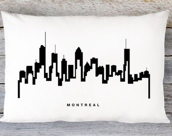 Montreal Skyline Pillow Cover - Montreal Cityscape Throw Pillow Cover - Modern Black and White Lumbar Pillow - By Aldari Home