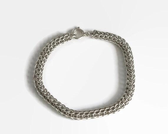 Sterling silver Wheat link bracelet, Spiga link bracelet, spring clasp, marked Sterling, 12.5 gms, 7.5 inches / 19 cm, 6 mm wide