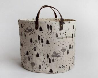 Homestead Medium Basket. Bucket Bag. Storage Bag. Project Bag. Tote. Yarn Basket. Knitting Bag. Fabric Bucket.