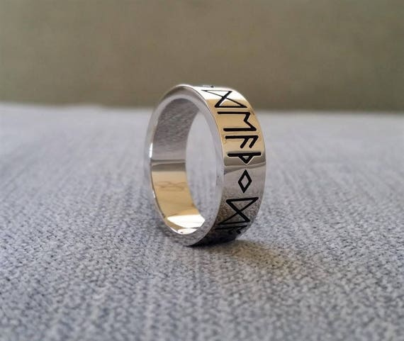 Rustic Mens Wedding Band Ring Nordic Runes Till Death Do We