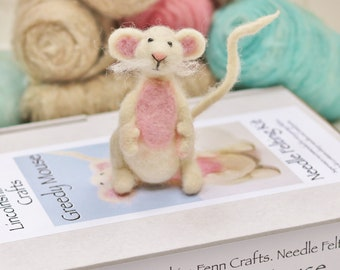 Mouse needle felting Kit Beginners needle felting kit Needle felting tutorial