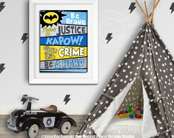 Superhero Wall Art for Boys Room Prints for Kids Room Wall Art for Nursery Superhero Sign for Boys Room Signs for Playroom Wall Art