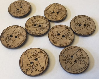 8 Matching coconut wood buttons - floral designs - 25mm (1 inch) - matching set of 8 new buttons, natural background