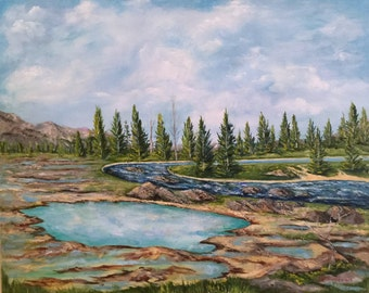 "gift,Landscape painting of Yellowstone Park  ""After the Fire"" National Park, oil painting, original art, traditional art"