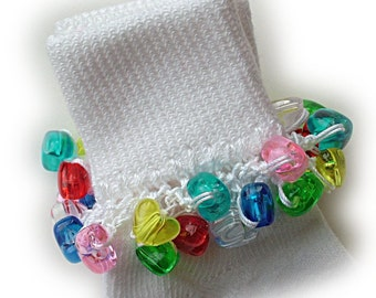 Kathy's Beaded Socks - Colorful Clear Heart socks, school socks, blue socks, purple socks, heart socks, red socks, yellow socks