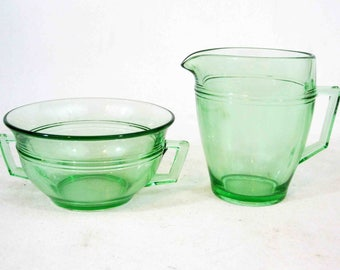Vintage Uranium / Vaseline Glass Creamer and Sugar Bowl Set. Depression Glass. Circa 1920's - 1930's.
