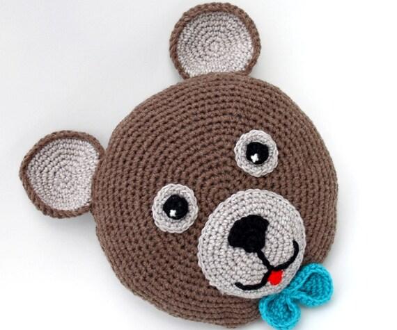 Crochet teddy bear pillow / round pillow / baby pillow / kids