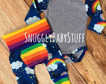 Rainbow Baby Outfit - Clouds, stripes, hearts, new baby gear, coming home outfit