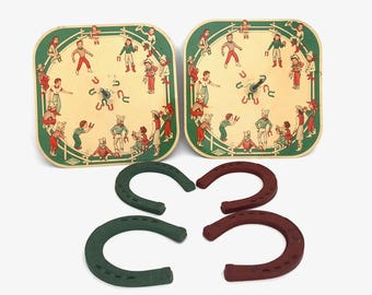 Horse Shoe Game - Vintage Wolverine Cowboy Theme Toy Horse Shoe Game - Pitch'em Game - Cowgirl - Western Collectible Toy - Lithograph Toy