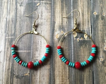 Red and turquoise beaded hoop earrings