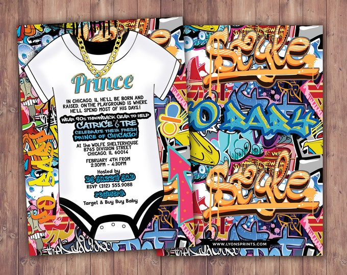 Fresh Prince, Baby Shower, Hip Hop, 90s, Push it shower, birthday invitation, Graffiti, birthday, DJ, 90s party, hip hop theme, digital