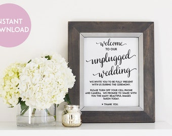 Unplugged Wedding Printable - 8 x10 Digital File - Print at Home - INSTANT DOWNLOAD