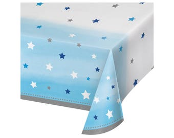 Tablecloth - Twinkle Twinkle Little Star Baby Shower - Twinkle Twinkle Little Star First Birthday - Star Baby Shower Decor - Blue Tablecloth