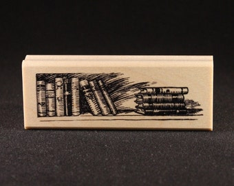 "Books Rubber Art Stamp (1.06"" x 3.56"")"